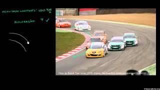 Física - Carros de corrida com velocidade constante em uma trajetória curvilínea (Khan Academy)