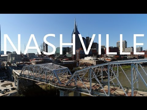Drone view of Nashville and The Cumberland River - KEN HERON