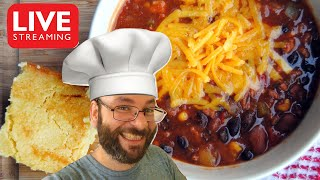 All-American Chili, Cornbread, & Dulce Leche Brownies | December 8th Cooking Live Stream