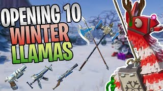 FORTNITE - Opening My First 10 Winter Llamas (Getting Every Medieval Weapon!)