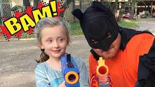 kid heroes 24 batman and thor get a giant surprise from elsa batgirl in this epic nerf war