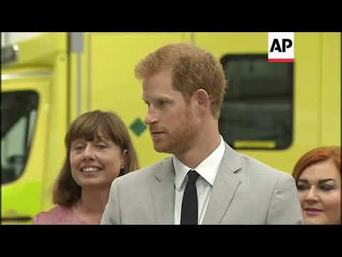 Prince Harry puts ambulance worker in spin, visits peace building charity, on first official visit t