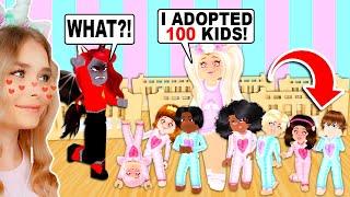 SURPRISING MOODY With ADOPTING 100 KIDS In Adopt Me! (Roblox)