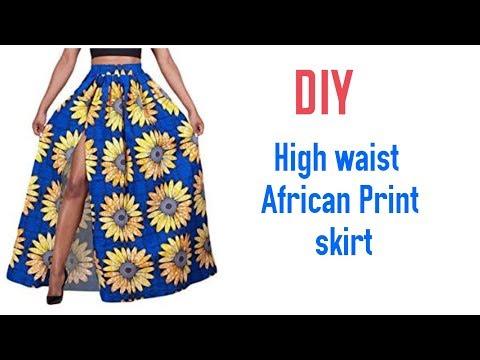 DIY High Waist African Print Skirt with Elastic