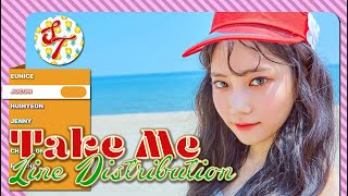 DIA - Take Me: Line Distribution (Color Coded)