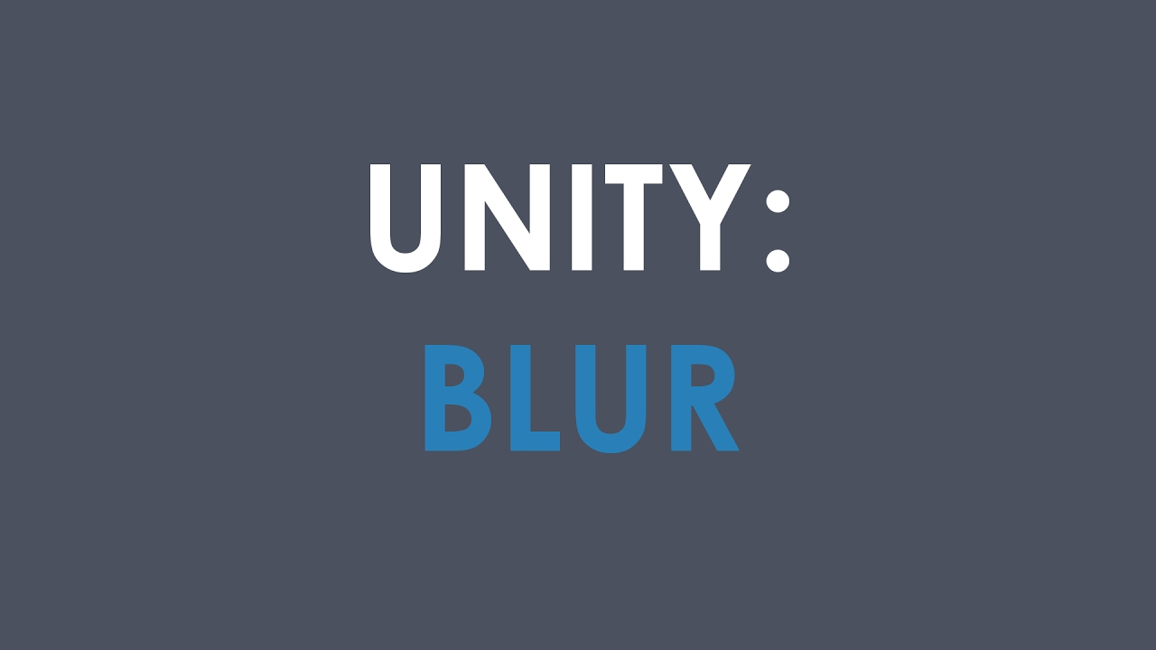 UNITY BLUR IMAGE UI ✖ Background Blur in Real Time
