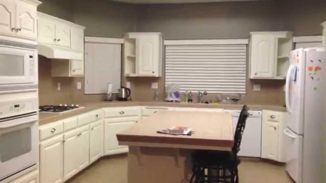 Diy painting oak kitchen cabinets white youtube for White oak cabinets kitchen