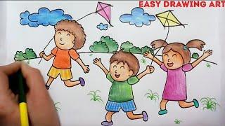 how to make makar sankranti drawing    kids playing with kite poster drawing