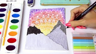 WATERCOLOR SUNSET PAINTING w/ Mandala Doodles & Mountains + Chat | SoCraftastic