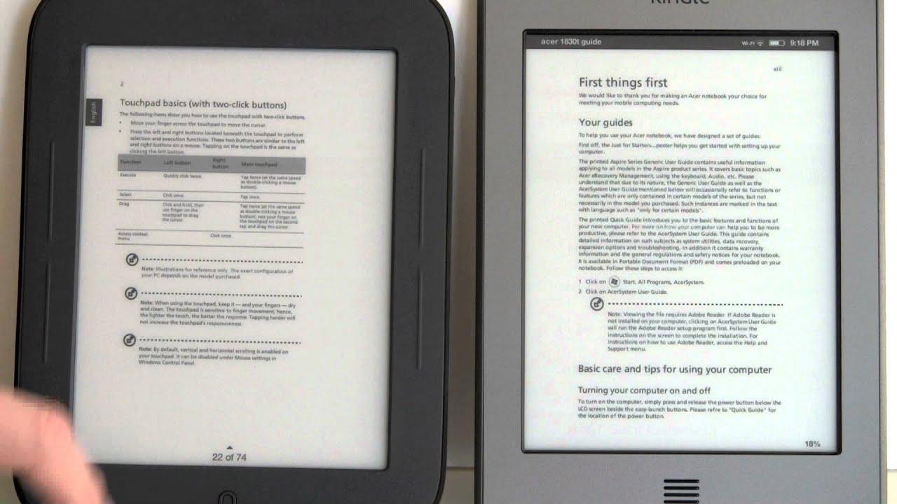 Nook E Reader Vs Kindle: Kindle Touch Vs. Nook Simple Touch Comparison