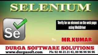 Selenium || Selenium Verify for an element on the web page using WebDriver