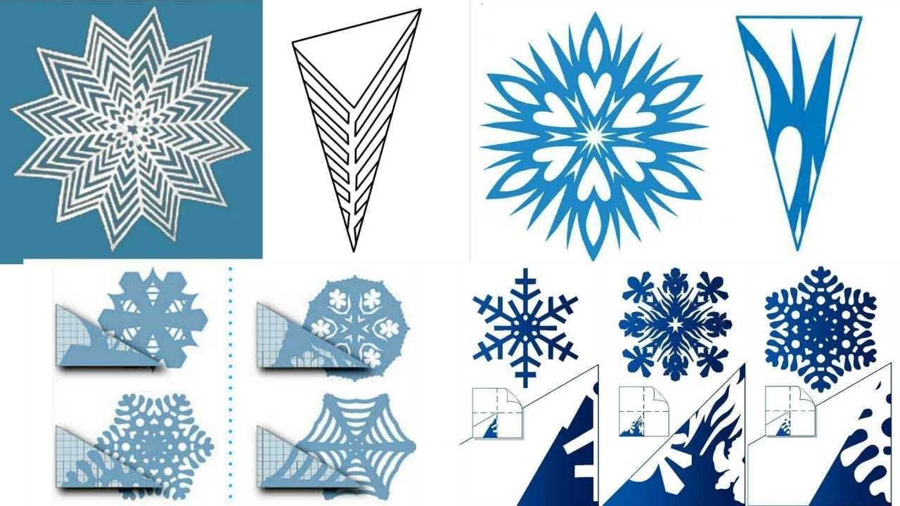 Схемы для вырезания снежинок / Как вырезать снежинки из бумаги фото