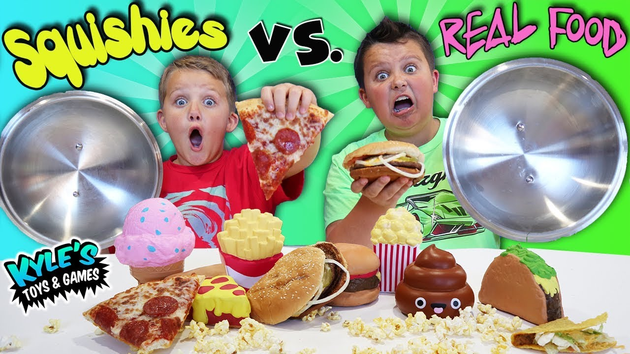 Squishy Toys Vs Real Food : Squishy Food VS. Real Food Challenge! - YouTube