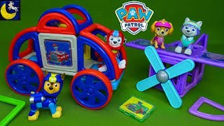Paw Patrol Magnetic Building Toys Magformers Skye Everest Chase Marshall Airplane Pup Vehicles