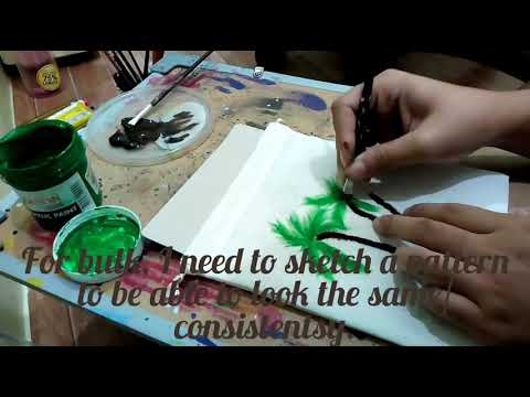 Coconut Tree Pouches Painting/ Fabric Painting/ Bag Painting