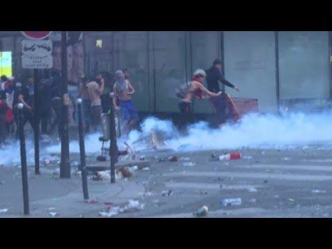 Celebrations turn violent in Paris after France