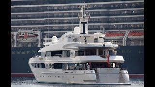 Superyacht Lady Marina - owned by Sergio Mantegazza - leaving Monaco.
