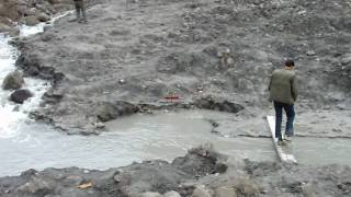Seepage from barrier of the lake on Hunza River