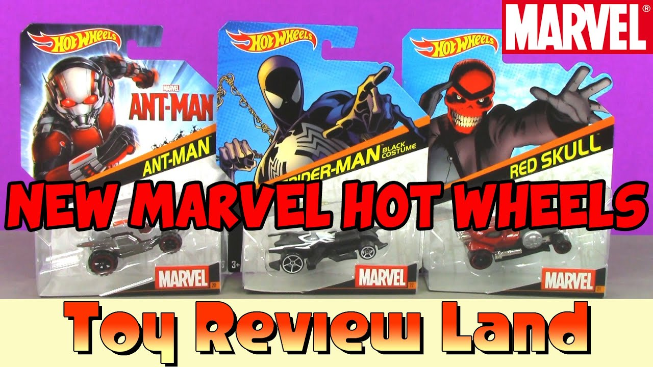 Marvel Hot Wheels Spiderman In Black Ant Man And Red Skull Special Guests Captain America Venom