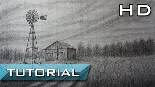 How to Draw a Realistic Landscape with Pencil Step by Step - Easy Drawing - Tutorial for Beginners