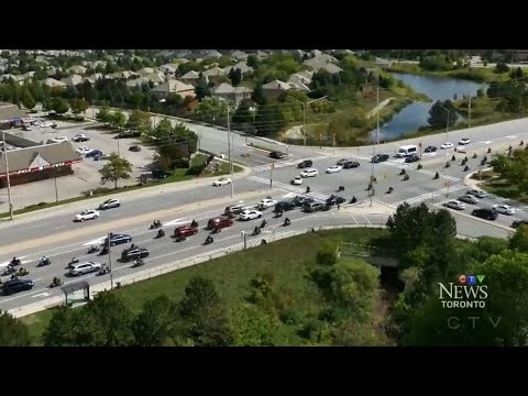 Motorcyclists swarm roads in Mississauga, Toronto