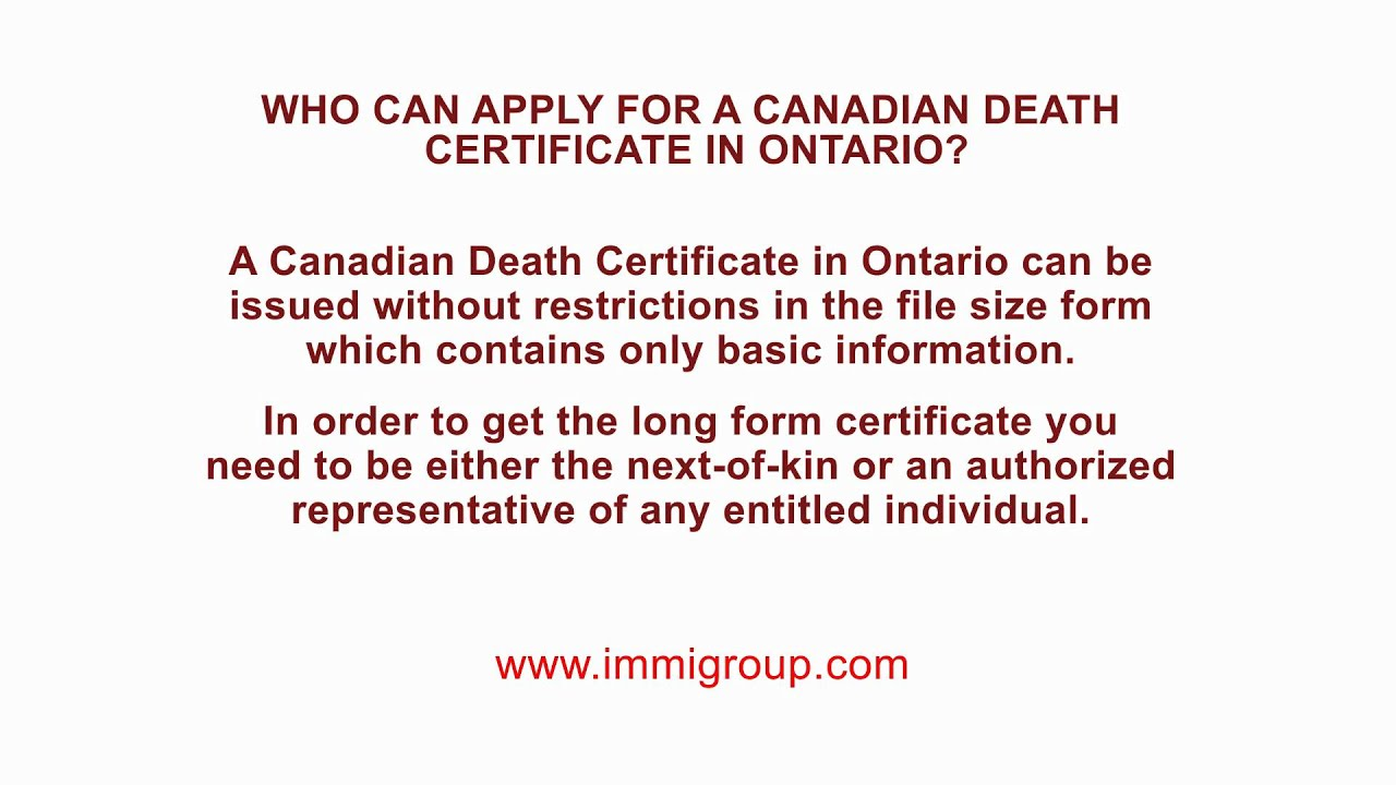 Who Can Apply For A Canadian Death Certificate In Ontario Youtube