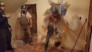 Construction Worker Breaks Through Wall
