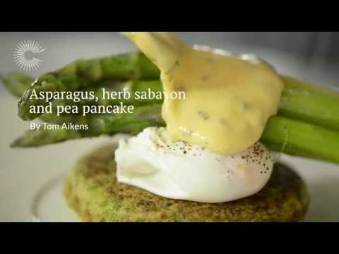 Organic Pea Pancake, Asparagus And Poached Eggs With A Herb Sabayon By Tom Aikens