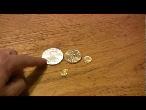 Bullion Bug - 1 oz Gold Eagle versus 1 oz Silver Eagle with 1/10 oz and 1 gm Engelhard Bar