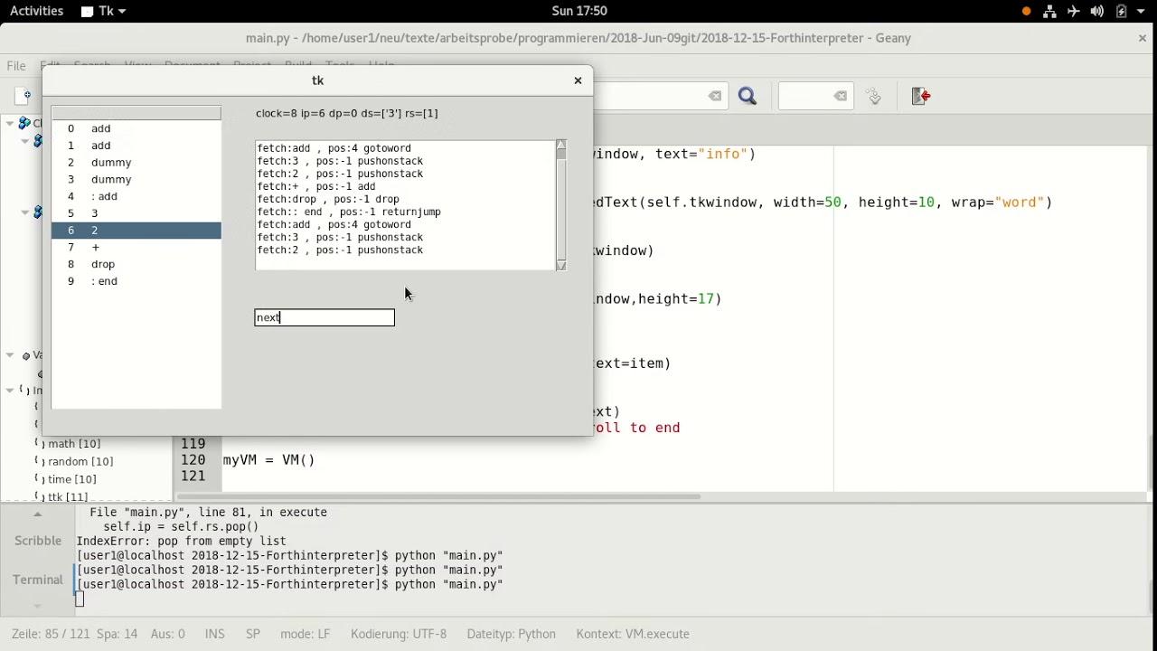 Forth Virtual machine interpreter written in Python/tkinter