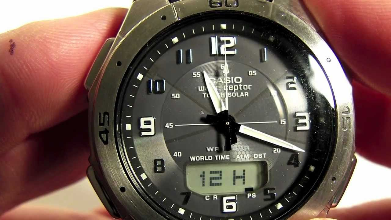 dst setting for casio analog digital waveceptor watch youtube rh youtube com casio analog digital watch instructions Casio Analog Divers Watch