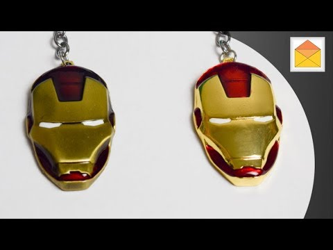 Iron Man Mask Marvel Comics Metal Keychains in Hand review