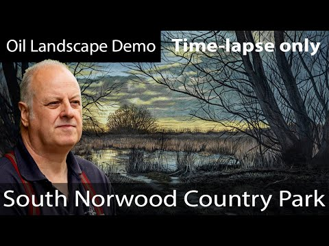 Painting a Landscape in oils demonstration Time-lapse only