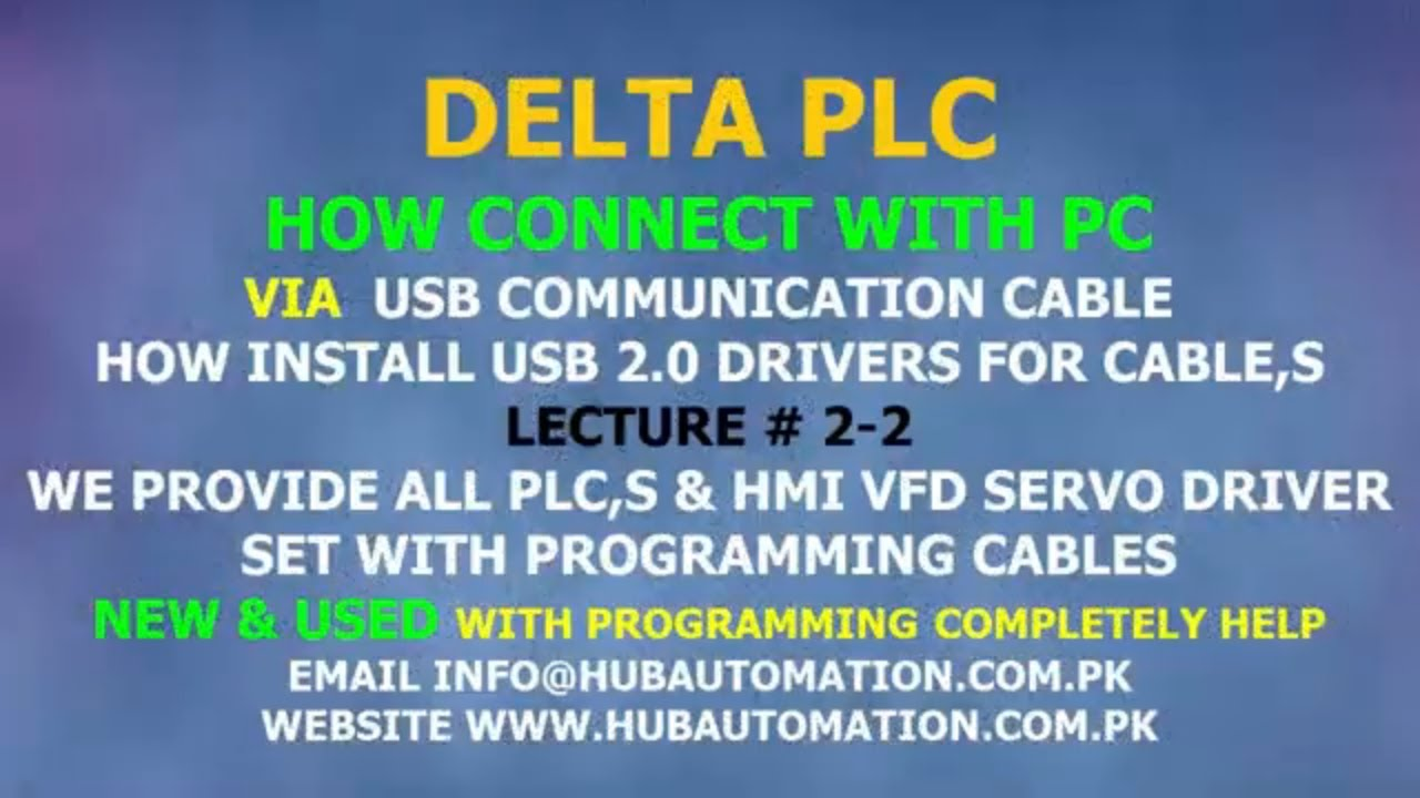 DELTA PLC HOW CONNECT WITH PC OR WPL-SOFT VIA USB COMMUNICATION CABLE URDU  HINDI LECTURE 2-2