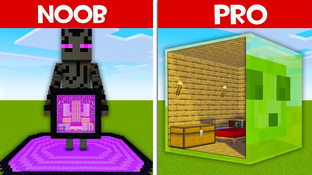 HOUSE INSIDE ENDERMAN vs SLIME HOUSE! SECRET BLOCK HOUSE in Minecraft NOOB vs PRO (Animation)