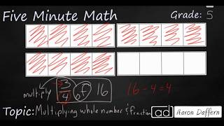 5th Grade Math Multiplying Whole Numbers and Fractions with Models