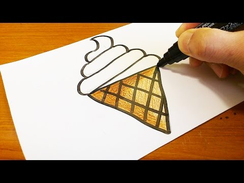 Very Easy !  How to Draw a Soft Ice Cream Cone - Easy and Cute art on paper for kids