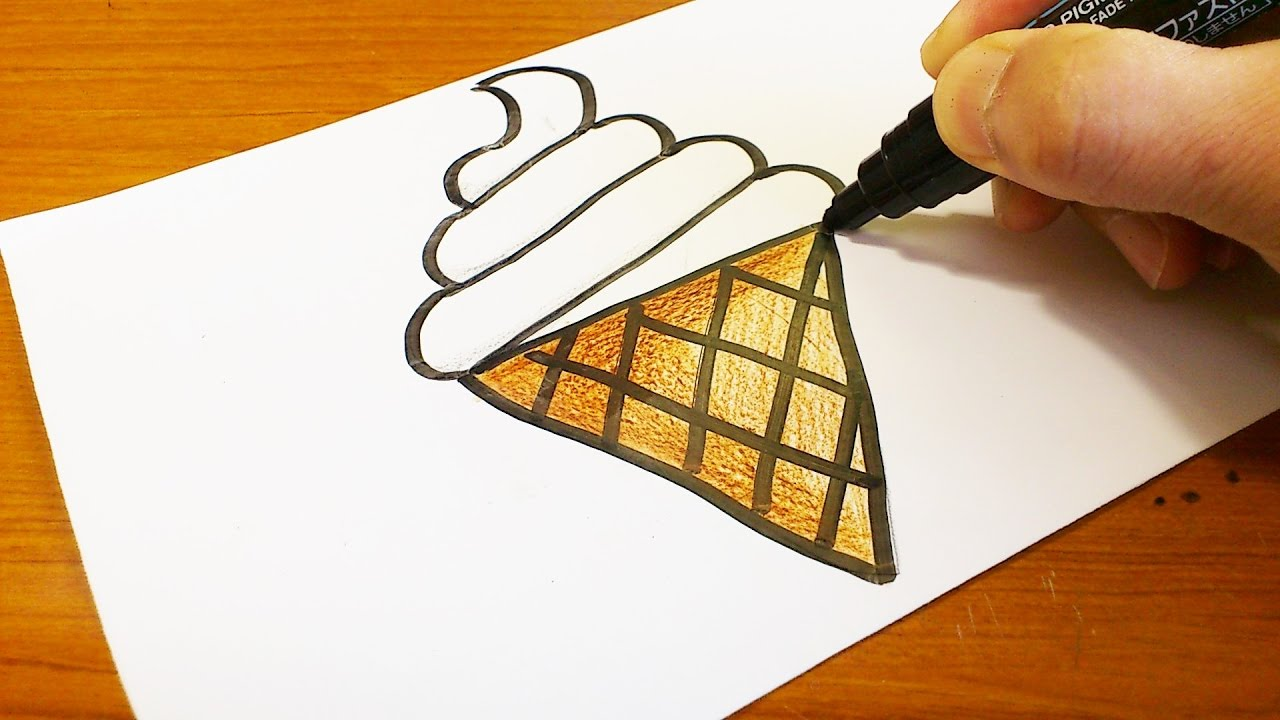 Very Easy How To Draw A Soft Ice Cream Cone Easy And Cute Art On