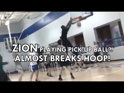 ZION WILLIAMSON PLAYING PICK UP BALL?! ALMOST BREAKS HOOP!