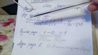 1033 Алгебра 8 класс. Элементы статистики. Найти среднее арифметическое, размах, моду