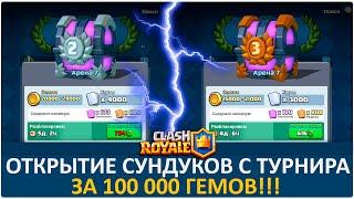 Открытие сундуков с турнира за 100 000 гемов. (Самый большой турнир СНГ) | Clash Royale