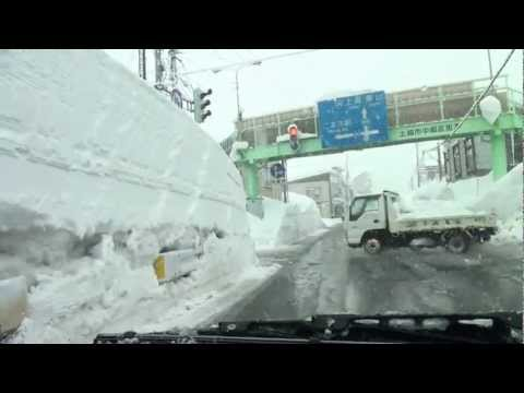 寒波到来大雪の車載 上越市中郷区~妙高市街地~上越市寺町