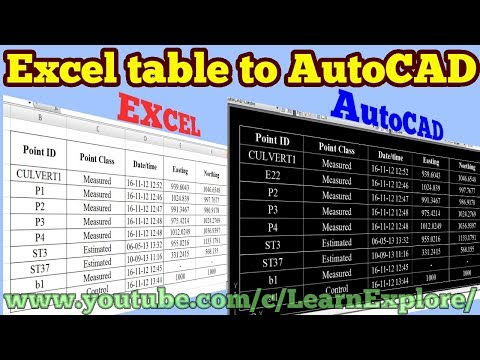 how-to-insert-excel-table-in-to-autocad-//data-link//excel//autocad