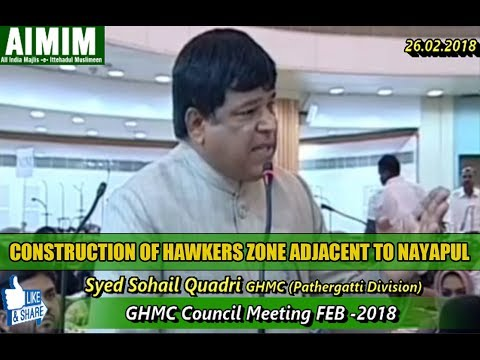 Syed Sohail Quadri in Council Meeting Build Hawkers Zone adjacent to Nayapul Bridge