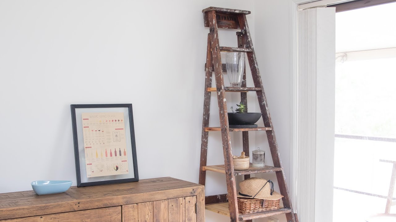 ladder shelf diy old wooden ladder upcycled for rustic. Black Bedroom Furniture Sets. Home Design Ideas