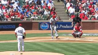 Josh Hamilton First At Bat vs Texas Rangers - Texas Rangers Opening Day 4/5/2013