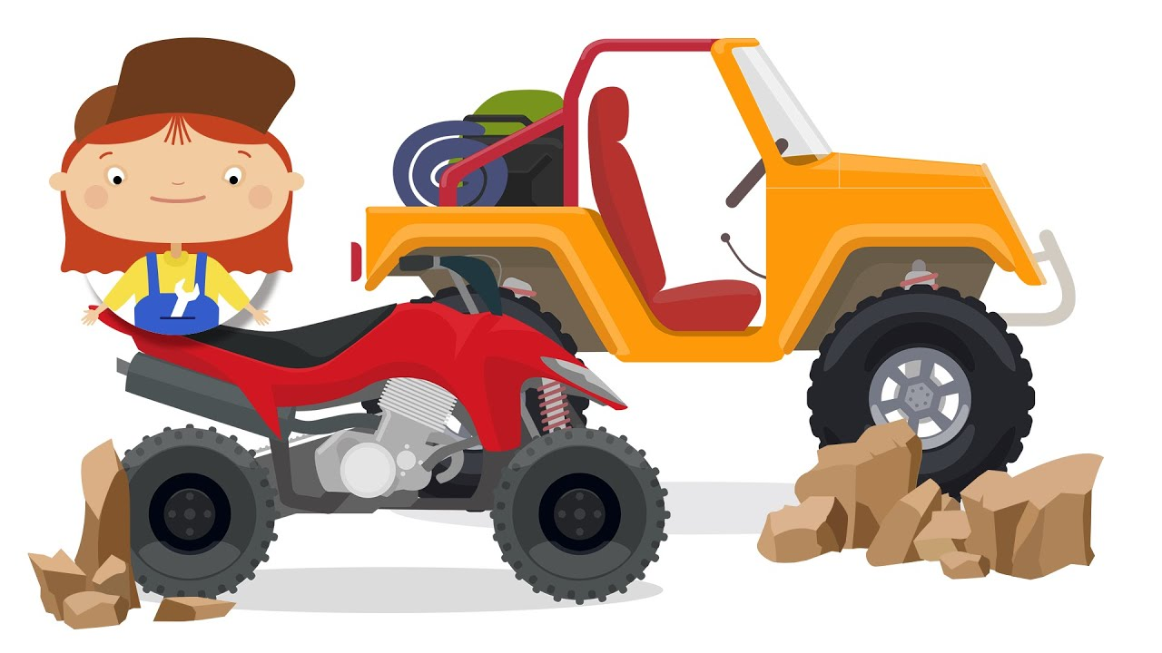 Cartoon for children. The ATV quad bike and the Jeep - YouTube