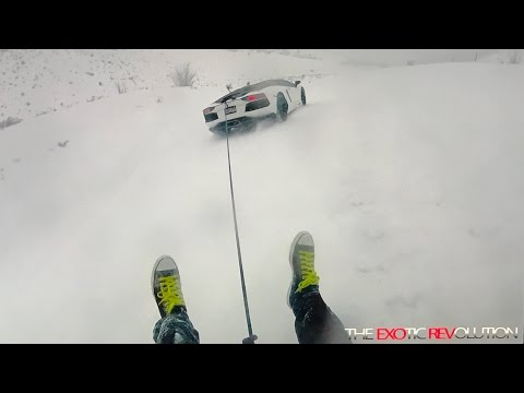 Snow Day or Play Day? The Stradman Inner Tubing Behind My Lamborghini Aventador Roadster