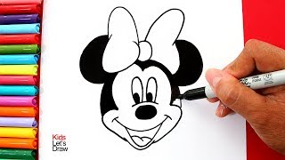 Aprende hacer Dibujos de MINNIE MOUSE con Brillantina | Glitter Minnie Mouse Drawings for Kids