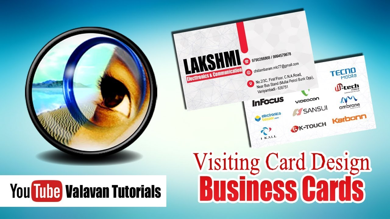 Photoshop Class 36th Day in Tamil | Visiting Card | Business Cards ...
